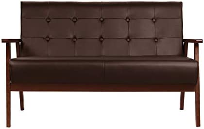 Mid-Century Modern Faux Leather Solid Arm Loveseats Sofa Retro Armrest Loveseat Couch Upholstered Wooden 2-Seat Lounge Chair