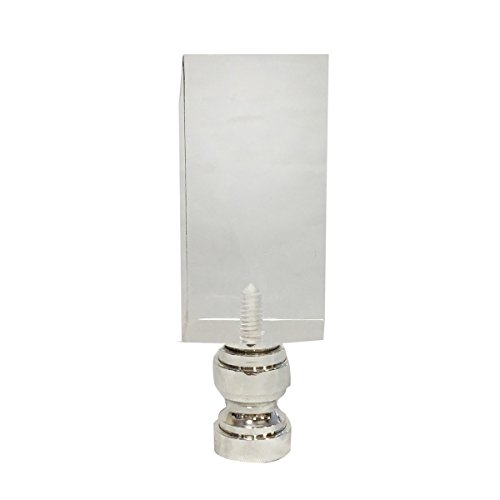Royal Designs Clear Rectangular Cube Lamp Finial with Polished Silver Base