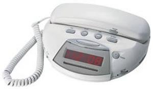 northwestern bell corded phone with am fm clock radio and alarm. Black Bedroom Furniture Sets. Home Design Ideas