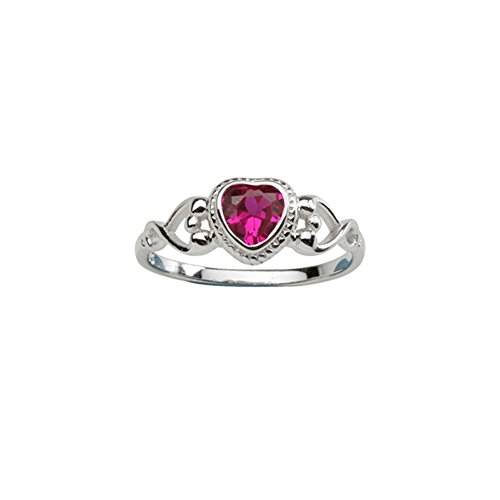 Sterling Silver Birthstone Heart Ring (Sterling Silver July CZ Simulated Birthstone Baby Ring with)
