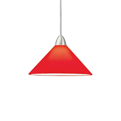 (WAC Lighting MP-512-RD/CH Jill 1-Light 12V MonoPoint Pendant with Red Art Glass Shade, Chrome Finish)