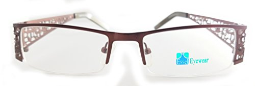 ES164 Metal Rectangular Eye Glasses Semi Rimless Frame (Brown, - Rimless Eyeglass Top Frames