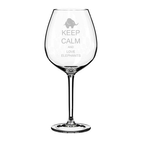 Wine Glass Goblet Keep Calm and Love Elephants (10 oz) MIP COMINHKPR140360