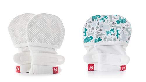Baby Mittens, Organic, Scratch Free & Germ Resistant (2 Pack, 0-3 Months, Diamond Dots/Cream, Forest Friends/Aqua