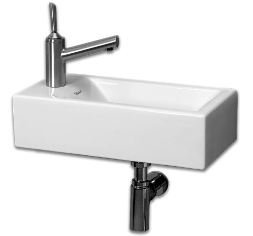 Vanity Basin Mount China Wall - Whitehaus WH1-114L-WH Isabella 19-3/4-Inch Wall-Mount Lavatory Basin with Central Drain and Left-Hand Faucet Drilling, White