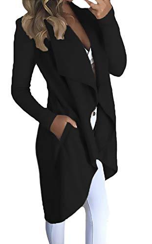 Cardigan Lana Manga Termica De Punto Irregular Larga Secciones Hem Elegantes Otoño Casuales Sólidos Mujeres Mujer Y Negro Colores Invierno Chaquetas Largas Chaqueta rrvRqA