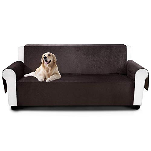 Large Leather Sofa - YEMYHOM Real Non-Slip Pet Dog Sofa Covers Protectors Water-Repellent Recliner Couch Slipcovers with Pockets (Sofa XL, Coffee)