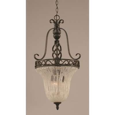 3 bulb Foyer piece w Italian Ice Glass Shade in Dark Granite