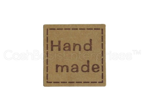 120 CleverDelights Hand Made Stickers – 1 Kraft Square Design – Kraft Paper Stickers – For Gift Tags, Goodie Bags, Scrapbooking, Gift Wrap, Baked G…