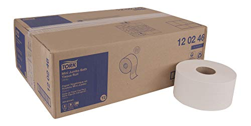 Tork Advanced 120246 Mini Jumbo Bath Tissue Roll, 2-Ply, 7.36
