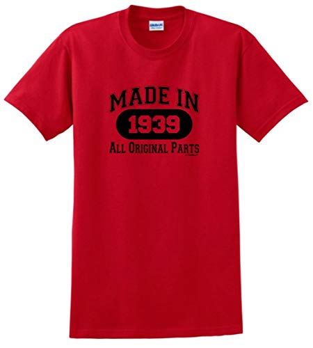 80th Birthday Party Supplies 80th Birthday Gift Made 1939 All Original Parts T-Shirt XL Red]()