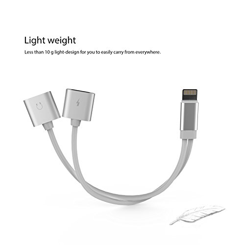 LIOOTECH iPhone 7 double lightning adapter charger + audio for Apple iPhone 7 Plus 7 support SYNC and earphones control function (silver) 85%OFF