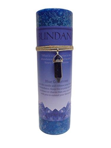 Handmade Necklace Goldstone - Blue Goldstone Crystal Energy Pillar Candle and Pendant Stone for Abundance