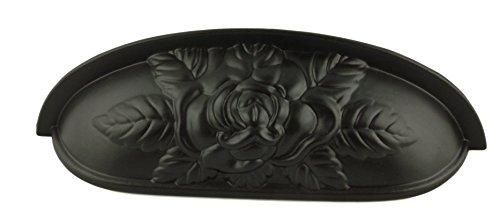 Old Rose Pattern Cup Pull - Oil Rubbed Bronze - Antique Cabinet, Vintage Cupboard, Old Desk Reproduction Restoration Hardware + Free Bonus (Skeleton Key Badge) DL-P3289-096OB (6)
