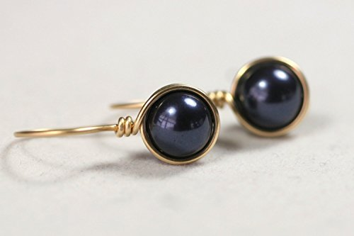 Gold Navy Blue Pearl Earrings Night Blue Swarovski Pearl Drop Earrings Yellow Gold or Rose ()