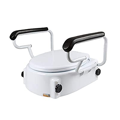 HSRG Toilet Seat Riser with Handles - with Padded Arms for Handicapped - Portable Bathroom Safety Chair
