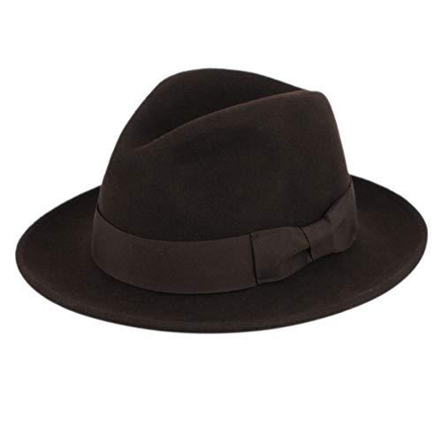Men's Premium Milano Wool Felt Fedora Grosgrain Band Hat (L/XL, Brown) ()