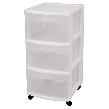 Plastic Storage Drawer (Set Of 2)   3 Drawer Storage Chest With 4