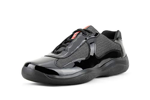 Prada Men's 'America's Cup' Patent Leather Mesh Sneaker, Black/Grey (10.5 US / 9.5 UK)