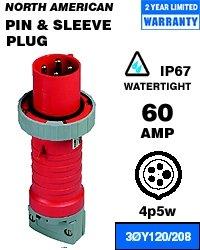 Leviton 560P9W Pin & Sleeve Plug 60 Amp 120/208 Volt 3PY 4P 5W NA-Rated - Blue