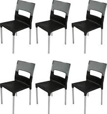 DZYN Furnitures Plastic Supreme Diva Chair (Black) - Set of 6