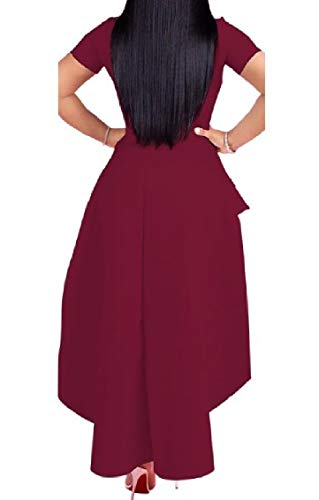 Women Flouncing Short Wine Size Plus Red Sleeve Mid Zipper Dress Long Coolred Sexy Irregular d8x1Bdfq