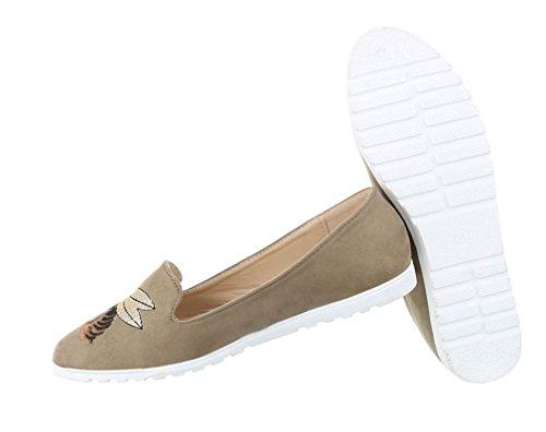 Damen Halbschuhe Schuhe Slipper Loafer Khaki
