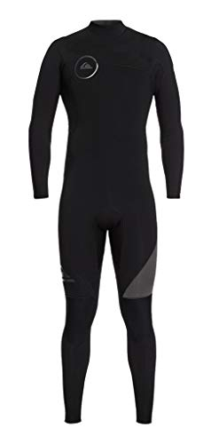 (Quiksilver Mens 3/2mm Syncro BZ Full Flatlock Wetsuit, Black/Graphite, Large)