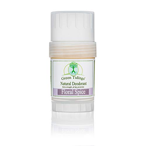 Green Tidings Natural Deodorant - Floral Spice 1 oz. - Extra Strength, All Day Protection - Vegan - Cruelty-Free - Aluminum Free - Paraben Free - Non-Toxic - Solid Lotion Bar Tube