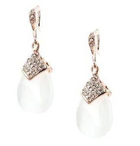 Jewelry Vintage Estate Retro (Pearlized White & Rose Gold Plated Drop Earring - White Bridal Jewelry)