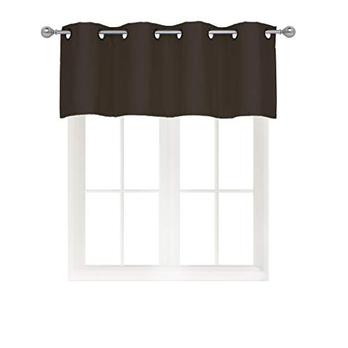 - Home Queen Solid Grommet Top Blackout Curtain Valance Window Treatment for Living Room, Short Straight Drape Valance, Set of 1, 54 X 18 inch, Brown