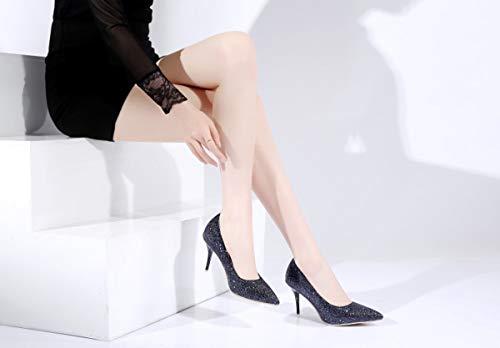 Andare Fatto Tacchi Adong Al Selvaggio 36eu E Night Moda Mano Appuntito Paillettes Appuntamento Club Colore Fine Tacco Womens black Solido Sexy Alti Per Lavoro A qIwwpR5