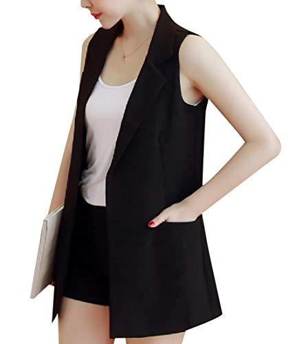 電子輝くコンパニオンTootess ポケット付き女性スリムカット大サイズオープンフロントドレスベスト