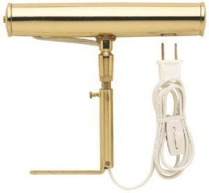 """Slimline 7 """" Polished Brass Picture Light with Frosted 15 Watt Bulb -8' White Electric Cord with adjustable in line on off switch. Size 9"""" x 10"""" x 2.5"""" Uses (1) bulb - Polished Spotlight Brass"""