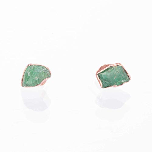 Raw Emerald Stud Earrings, Rose Gold, May ()