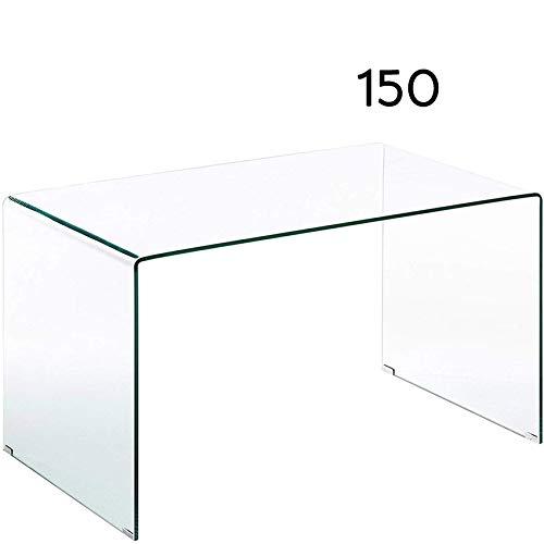Mesa Escritorio o Comedor Cristal Templado Curvado 150 x 80 cm ...