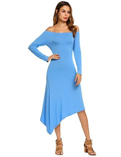ACEVOG Women's Off Shoulder Long Sleeve Irregular Hem Slim Fit Casual Dress,Blue,S (Cd Music Shoulder)