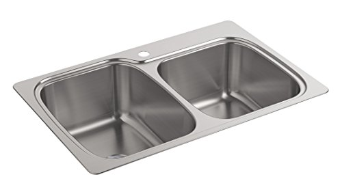 Kohler K-75791-1-NA Verse 33 inch x 22 inch x 9 inch Top-/Under-Mount large/Medium Double-Bowl Kitchen Sink with single Faucet Hole