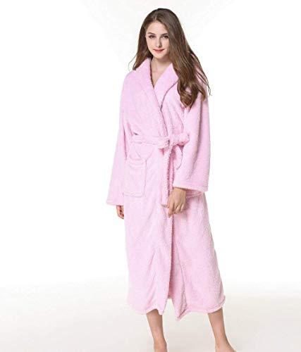 Caliente Sólido Camisas Albornoz Manga Bolsillos Mujer Cinturón Pink Delanteros Fashionista Con Color Outwear Camisones Terciopelo Grueso Larga 8Zwwgx