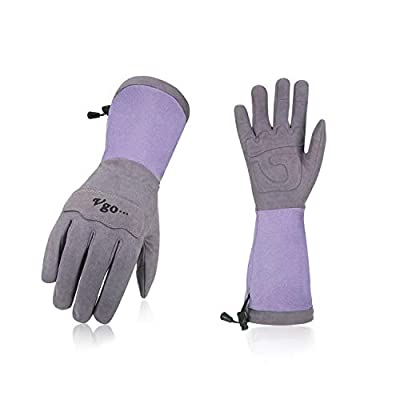 Vgo Ladies' Synthetic Leather Palm with Long Pig Split Leather Cuff Rose Garden Gloves (1Pair,Purple,SL6592W)