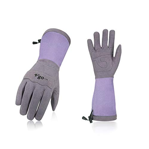 Leather Palm Gloves Cuff (Vgo Ladies' Synthetic Leather Palm with Long Pig Split Leather Cuff Rose Garden Gloves (1Pair,Size M,Purple,SL6592W))
