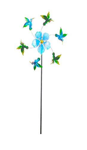Continental Art Center 24''X24''X64'' Blue flower and humming bird kinetic stake by Continental Art Center