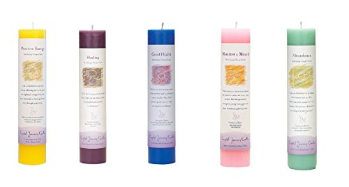 - Crystal Journey Reiki Charged Herbal Magic Pillar Candle with Inspirational Labels - Set of 5 (Positive Energy, Healing, Good Health, Manifest a Miracle, Abundance) Each 7