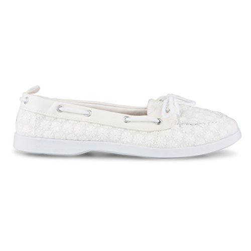 Boat Trim Faux Leather Women's White Bonnie Floral Shoe Twisted qIawSOXq6
