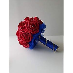 Wonder woman bridal bouquet, Wonder woman bridesmaid bouquet, red and blue wedding bouquet, toss bouquet, 8 inch bouquet, 9 inch bouquet, superhero bouquet 95
