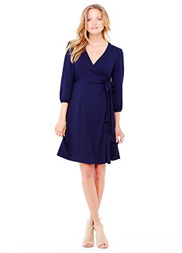 Ingrid & Isabel Women's Maternity 3/4 Sleeve Wrap Dress, True Navy, (Maternity Spandex Wrap)