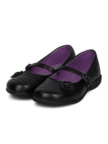 Schola Sammi-02 Girls Leatherette Round Toe Flower Applique Mary Jane Uniform Shoe HD42 - Black Leatherette (Size: Big Kid 3) by Alrisco (Image #4)