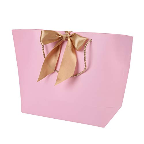 - Salmue 10 Pieces Pink Paper Bag, Simple Portable Paper Bag, Decorative Gift Paper Bag, Clothing Cosmetic Gift Bag, Used for Gift Packaging(#5)