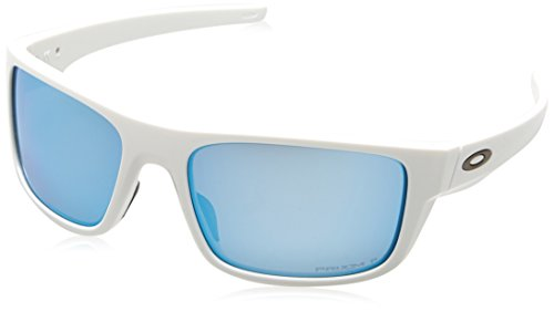 Oakley Men's Drop Point Polarized Iridium Rectangular Sunglasses, Polished White, 60.0 ()