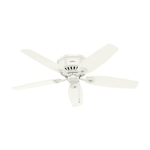 """Hunter 53326 builder indoor low profile ceiling fan with led light and pull chain control, 52"""", snow white 3 classic ceiling fan: the traditional builder fan comes with led light with swirled marble glass that will keep home interior inspired; measures 52 x 52 x 14. 59 inch multi-speed reversible fan motor: whisper wind motor delivers ultra-powerful airflow with quiet performance; change the direction from downdraft mode during the summer to updraft mode during the winter led light kit: energy-efficient dimmable led light bulbs let you control the lighting and ambiance of the living space; the long lasting bulbs have longer lifespan than traditional bulbs"""
